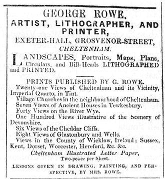 George Rowe (printmaker) - An 1830s newspaper advert for Rowe.