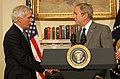 George W. Bush shakes hands with Edward Schafer.jpg