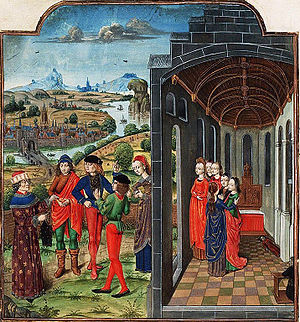 Giovanni Boccaccio - Giovanni Boccaccio and Florentines who have fled from the plague