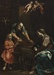 Giuseppe Crespi: Jesus, Mary and Joseph in the workshop