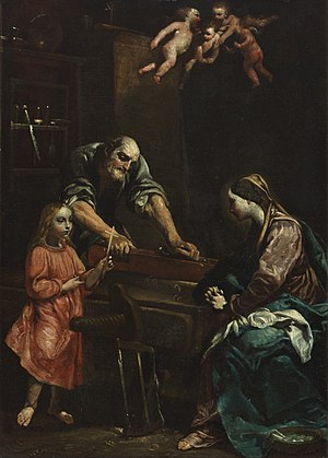 Jesus, Mary and Joseph in the workshop
