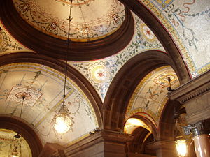 Glasgow City Chambers - Mosaic ceiling of the ground floor Loggia.