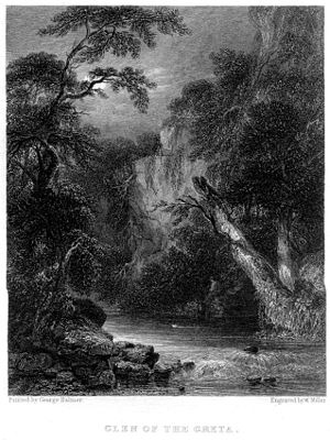 George Balmer - Glen of the Greta (engraving by William Miller after George Balmer, 1834)