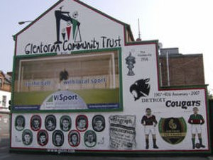 Glentoran F.C. - Glentoran Community Trust mural on the Newtownards Road, depicting past players, the Vienna Cup and the Detroit Cougars.