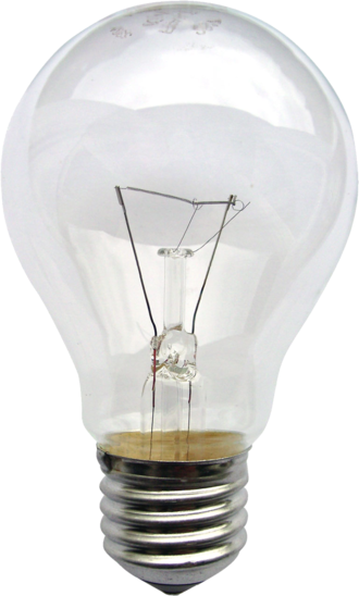 "Incandescent light bulb - A 230-volt incandescent light bulb, with a ""medium"" sized E27 (Edison 27 mm) male screw base. The filament is visible as the horizontal line between the vertical supply wires."