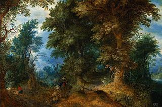 Wooded landscape with peasants crossing the ford.