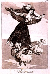 Painting of a woman  with arms outstretched, flying. Below her are three gnome-like mean holding cushions.