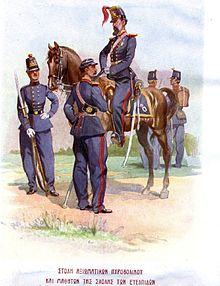 Στολές ευέλπιδων περί το 1885, από τον Πάνο Αραβαντινό. Έφιππος εικονίζεται ο τότε διοικητής της σχολής, Πάνος Κολοκοτρώνης.