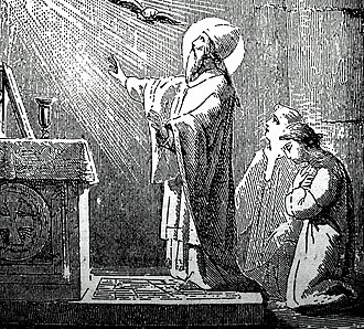 Pope Gregory VII - An engraving of Pope Gregory VII saying Mass, from Little Pictorial Lives of the Saints (1878)