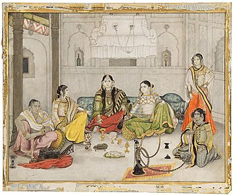 Company style - Group of courtesans, Company style, 1800-25, 26 x 31.2 cm opaque watercolour and gold on paper.