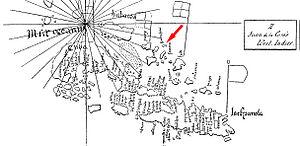 Guanahani - Image: Guanahani en mapa de la Cosa