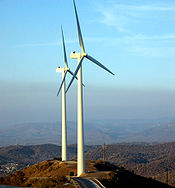 Two of the wind turbines installed by the Navy in 2005.
