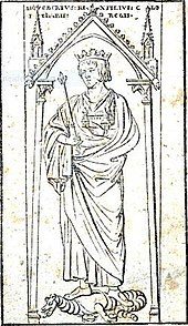 Sigiberts I. Grabmal zu Soissons, Holzschnitt von Gubitz (vor 1815), abgedruckt in einem Buch des Germanisten Zeune über das Nibelungenlied[1] (Quelle: Wikimedia)