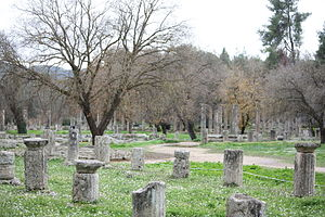 Archaic Greece - The gymnasium and palaestra at Olympia, the site of the ancient Olympic games.  The Archaic period conventionally dates from the first Olympiad.