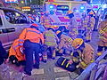 HK Cheung Sha Wan Night Cheung Wah Street Un Chau Street traffic accident Firefighters at work Nov-2013 outdoor.JPG