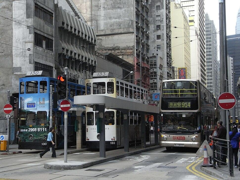 HK Sheung Wan Tram Station KMBus 914 Des Voeux Road Central