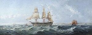 HMS Prince of Wales (1860) - Image: HMS Britannia by Henry J Morgan