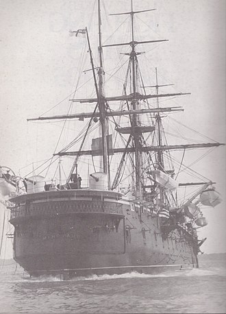 HMS Minotaur (1863) - A stern view of Minotaur; note the two prominent 4.7-inch guns on the poop deck