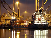 HMS Portugal IMO IMO 9121869 loading and unloading at night in the Amazone harbour Port of Rotterdam 24-Jan-2006.jpg