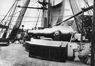 Bombardment of Alexandria - One of HMS Temeraire{{'}}s 11 inch 25-ton disappearing muzzle-loading rifles. HMS Alexandra shelled the forts with similar guns.