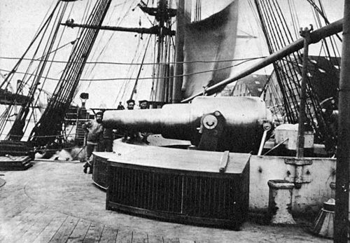 One of HMS Temeraire's 11-inch 25-ton disappearing muzzle-loading rifles. HMS Alexandra shelled the forts with similar guns. HMS Temeraire (1876) 11-inch gun.jpg