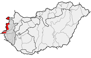 Alpokalja - Location of Alpokalja (in red) within physical subdivisions of Hungary