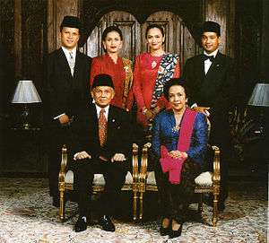 National costume of Indonesia - Formal family portrait of former Indonesian President B.J. Habibie. Ladies wearing kain batik and kebaya with selendang (sash), while gentlemen wears jas and dasi (western suit with tie) with peci cap.