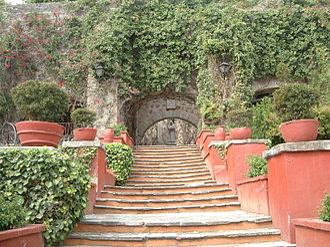 Hacienda - Gardens of the Hacienda San Gabriel in Guanajuato, Guanajuato, Mexico.