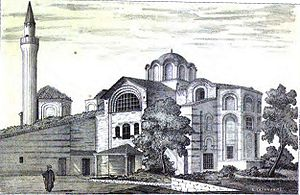 Church-Mosque of Vefa - The mosque viewed from the southeast in a drawing of 1877, from A.G. Paspates' Byzantine topographical studies