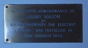 Electric light - St John the Baptist Church, Hagley, tablet commemorating the installation of electric light