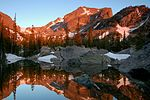 Hallet's Peak reflected in Lake Haiyaha at darn in Rocky Mountain National Park. NPS-Debra Miller (18659267056).jpg