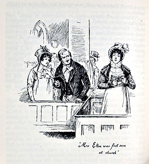 Styles and themes of Jane Austen - Church was a social as well as a religious event. In Emma, for example, the first time the town sees Mr. Elton's wife is at church. (Chris Hammond, 1898)