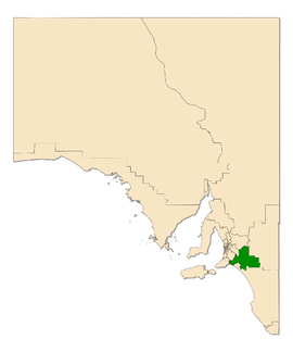 Map of South Australia with electoral district of Hammond highlighted
