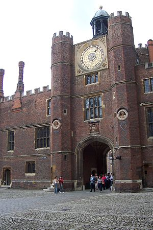 Hampton Court astronomical clock - The clock face in the tower