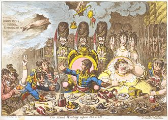 Belshazzar's feast - In The Hand-Writing upon the Wall (1803), James Gillray caricatured Napoleon in the role of Belshazzar.