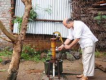 Hand Pump To Pump Water From A Well In A Village Near Chennai In India,  Where The Well Water Might Be Polluted By Nearby Pit Latrines