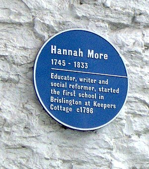 Hannah More - Blue Plaque on the wall of Keepers Cottage, Brislington.