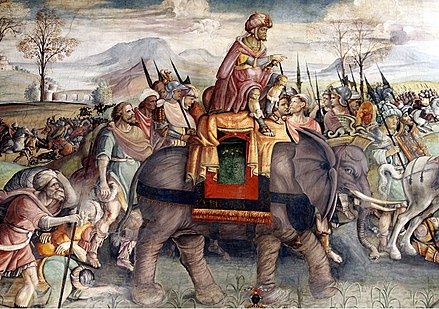Hannibal's celebrated feat in crossing the Alps with war elephants passed into European legend: detail of a fresco by Jacopo Ripanda, ca. 1510, Capitoline Museums, Rome. Hannibal in Italy by Jacopo Ripanda - Sala di Annibale - Palazzo dei Conservatori - Musei Capitolini - Rome 2016 (2).jpg