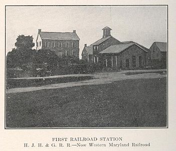 The first railroad station in Hanover