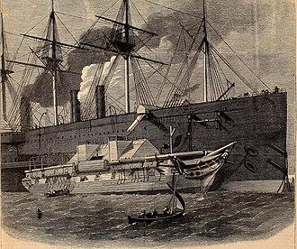 """HMS Iris (1840) - Alongside the """"Great Eastern"""""""