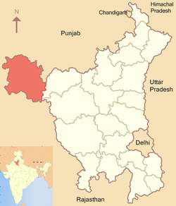 Location of Sirsa district in Haryana