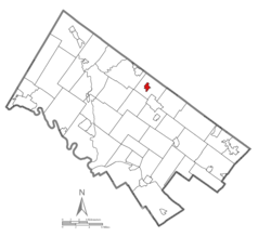Location of Hatfield in Montgomery County, Pennsylvania.