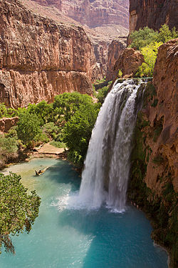 Havasu Falls, near Supai, Arizona, is an example of a plunge waterfall