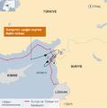 Haziran 2012 vurulan Türk uçağının rotası.png