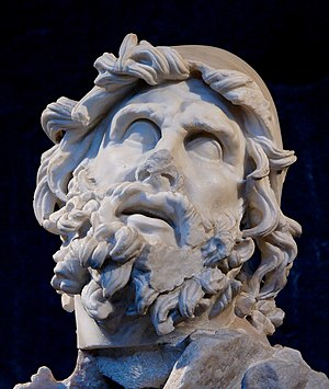 Odysseus - Head of Odysseus from a Roman period Hellenistic marble group representing Odysseus blinding Polyphemus, found at the villa of Tiberius at Sperlonga