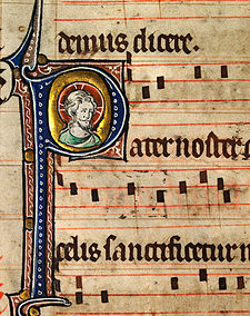 Musical notation from a Catholic Missal, c. 1310-1320 Head of Christ1.jpg