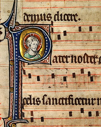 Music notation from an early 14th-century English Missal, featuring the head of Christ. Catholic monks developed the first forms of modern European musical notation in order to standardize liturgy throughout the worldwide Church. Head of Christ1.jpg