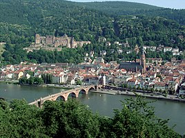 Heidelberg, with Heidelberg Castle on the hill and the Old Bridge over river Neckar