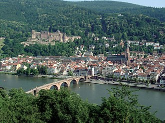 Siege of Heidelberg (1622) - View of Heidelberg with the Heidelberg Castle on hill and the Old Bridge.