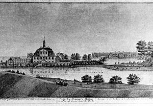Hellebækgård - Stephen Hansen's Hellebækgård from 1747 as it appeared prior to the rebuilding in 1768